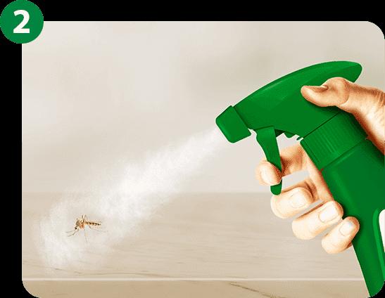 Aperte o gatilho na direção do inseto